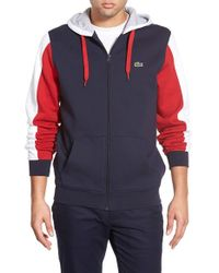 Lacoste | Blue 'sport' Colorblock Zip Hoodie for Men | Lyst