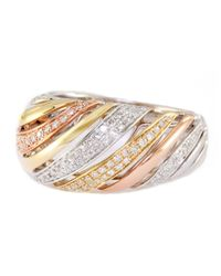 Effy | Metallic Trio 14 Kt White Yellow And Rose Gold Striped Diamond Ring | Lyst