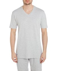 Lacoste - Gray Nightwear V-neck T-shirt for Men - Lyst