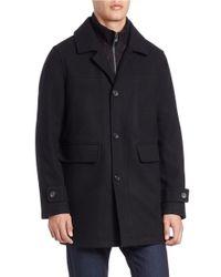 Calvin Klein | Black Bibbed Wool Blend Walker Coat for Men | Lyst