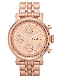Fossil Pink 'original Boyfriend' Chronograph Bracelet Watch