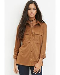 Forever 21 | Natural Faux Suede Button Shirt | Lyst