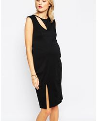 ASOS - Black Textured Bodycon Dress With Curve Cut Out - Lyst