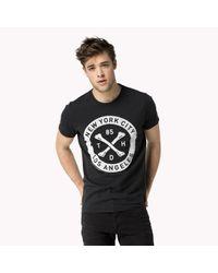 Tommy Hilfiger | Black Cotton Printed T-shirt for Men | Lyst