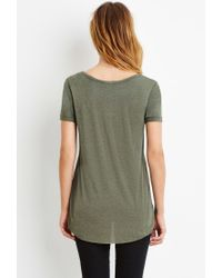 Forever 21 | Green Contemporary Heathered Scoop Neck Tee | Lyst