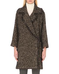 Etro Black Shearling Trimmed Tweed Wrap Coat