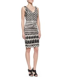 Nicole Miller | Black Sleeveless Patterned Sheath Dress | Lyst