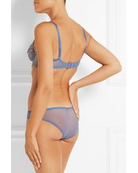 L'Agent by Agent Provocateur | Blue Iana Metallic Lace-Paneled Tulle Balconette Bra | Lyst