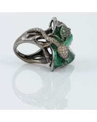 Wendy Yue Green Turquoise Frog Leaf Ring