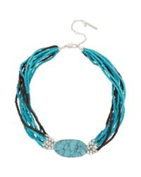Kenneth Cole | Blue New York Silvertone Turquoise Oval Stone Multirow Necklace | Lyst