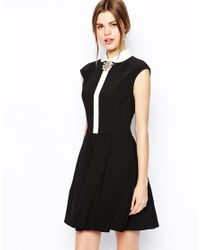 Ted Baker - Black Contrast Collar Dress with Brooch Detail - Lyst