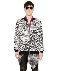 Roberto Cavalli | White Zebra Cotton Jacquard Bomber Jacket for Men | Lyst