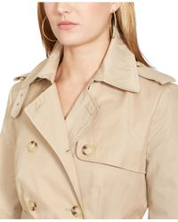 Lauren by Ralph Lauren | Natural Petite Double-Breasted Skirted Trench Coat | Lyst