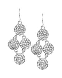 Kenneth Cole - Metallic Silvertone Pave Circle Chandelier Earrings - Lyst