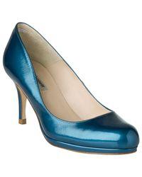 L.K.Bennett Blue Sersha Block Heeled Court Shoes