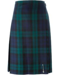 Le Kilt - Green Checked Pleated Midi Skirt - Lyst