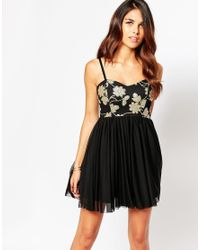 Lipstick Boutique - Black Flossy Bandeau Skater Dress With Sequin Top - Lyst