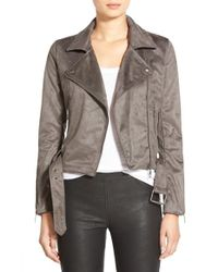 Glamorous | Gray Faux Suede Moto Jacket | Lyst