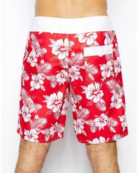 ASOS | Red Swim Short With Hibiscus Print In Long Length for Men | Lyst