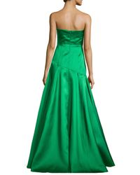 Black Halo - Green Strapless Dropped-waist Full Ball Gown - Lyst