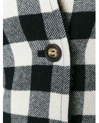RED Valentino - Black Checked Cape Coat - Lyst