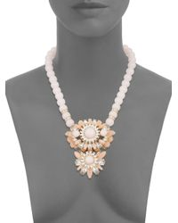 Lydell NYC | Beaded Cluster Statement Necklace/pink | Lyst