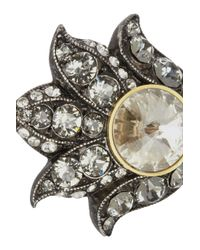 Lanvin | Metallic Blanche Pewtertone Crystal Ring | Lyst