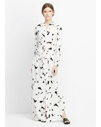 VINCE | White Drawstring Printed-Silk Maxi Dress  | Lyst