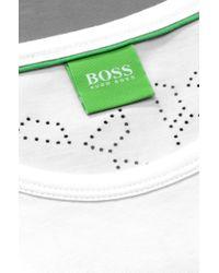 """BOSS Green White T-Shirt """"Tee 8"""" In Cotton Blend for men"""