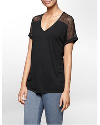 Calvin Klein - Black Jeans Lace Detail V-neck Short Sleeve Top - Lyst