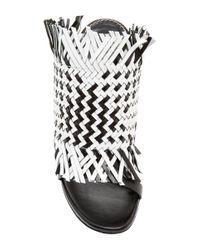 Proenza Schouler Black And White Woven Calfskin Mules