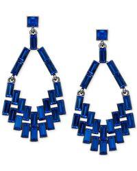 ABS By Allen Schwartz - Hematite-Tone Blue Chandelier Earrings - Lyst
