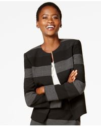 Tahari | Black Striped Open-front Blazer | Lyst