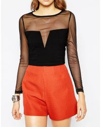 Wyldr - Black Baron Crop Top With Mesh Insert - Lyst