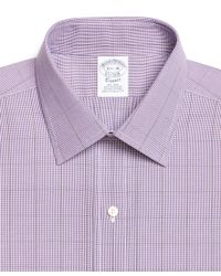Brooks Brothers - Purple Non-iron Traditional Fit Houndstooth Overcheck Dress Shirt for Men - Lyst