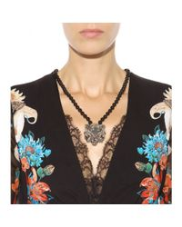 Roberto Cavalli Black Embellished Necklace