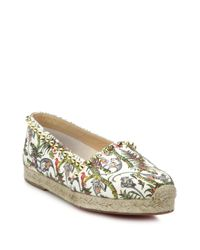 Christian Louboutin | White Studded Canvas Espadrilles | Lyst