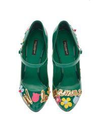Dolce & Gabbana Green Patent Leather Embellished Mary Jane Heels