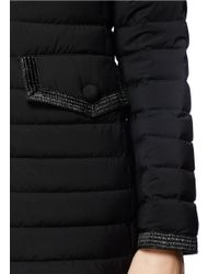 Moncler Black 'burcy' Woven Trim Hooded Down Jacket