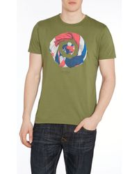 Ben Sherman | Green Union Jack Print Crew Neck Regular Fit T-shirt for Men | Lyst