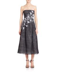 Sachin & Babi Black Marina Strapless Embroidered Midi Dress