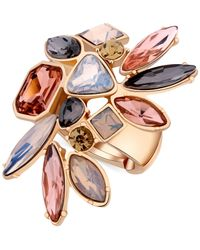 Guess | Metallic Gold-tone Multi-stone Stretch Ring | Lyst
