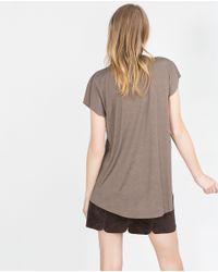 Zara | Gray V-neck Top | Lyst