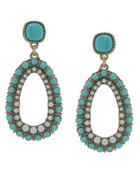 Carolee - Blue Antique Goldtone Turquoise Bead and Imitation Pearl Clipon Drop Earrings - Lyst