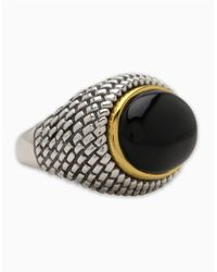 Lord & Taylor | Metallic Sterling Silver And 14k Yellow Gold Onyx Ring | Lyst