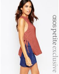 ASOS | Brown Longline Vest With Tie Sides In Rib | Lyst