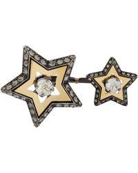 Lanvin Metallic Altair Doublefinger Ring