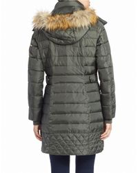 Sam Edelman | Green Faux Fur-trimmed Puffer Coat | Lyst