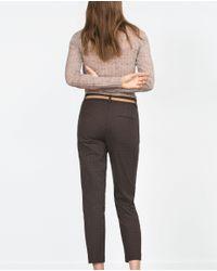 Zara | Brown Chinos With Belt | Lyst