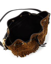 Saint Laurent - Brown Emmanuelle Leopard-Print Medium Fringe Bucket Bag - Lyst